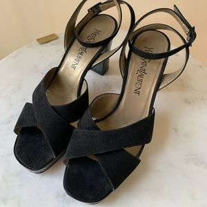 Vintage YSL Black Suede Patent Leather Size 8.5